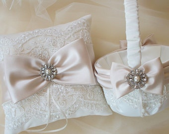 Wedding Ring Pillow with Beaded Alencon Lace, Champagne Satin Sash and Bow Plus Coordinating Basket - The MELINDA Set