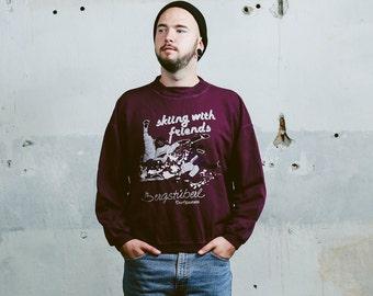 Vintage 90s Men's Sweatshirt . Printed Ski Sweater 1980s Purple Jumper 1990s Cotton Sweatshirt 80s Boyfriend Gift . size Medium