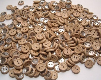 Silvered Natural Wood Buttons Large Lot 300 Vintage Buttons never used Shabby Crafts