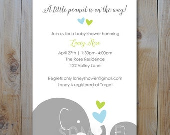 Elephant Baby Shower Printable Invitation / Little Peanut Blue and Green / PRINTABLE  INVITATION / #40445