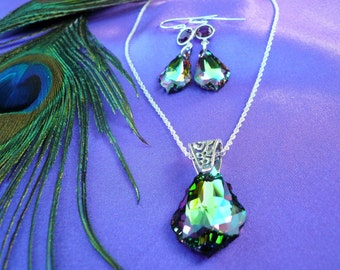 Peacock wedding, jewelry set, silver or gold