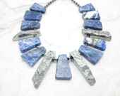 Chunky Statement Necklace [Statement Necklace Sodalite Stone Silver Agate Statement Collar] SILVER STREAK