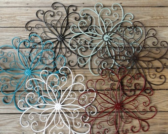Cottage Chic,  Metal Wall Decor, Beachy Beach Turquoise flower, wall art, Shabby and Chic, Home Decor, Cottage Wall Decor