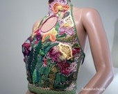 Sale - EXTRAVAGANT BODICE/APRON - Signature Accessory, Wearable Fiber Art, Freeform Crocheted & Embroidered