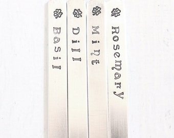 Custom Herb Stakes Shamrock Garden Marker Set 4 - Herb, Fruit, Vegetables Plant Label - Hand Stamped Metal Garden Decorations - Aluminum