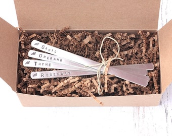 Herb Garden Marker Set of 4 - Ready to Ship Garden Labels, Herb Stakes, Hand Stamped Aluminum - Gifts for Mom