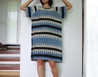 Oversize Midi Dress - Dusty Teal Blue & Black Graphic Printed Cotton Jersey Dress Tunic Women Tops Dress Size0 To Size12