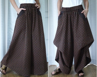 PLUS SIZE Printed Dark Brown Medium Weight Cotton Super Wide Legs Funky Bell Bottom Pants With 2 Pockets And Elastic Waist - SM683C