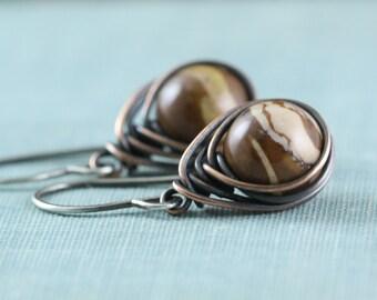 Jasper Stone Earrings, Rustic Sterling Silver, Copper