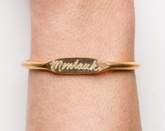 "Brass Bangle Bracelet, Hand Engraved with ""Brooklyn"" or Customized with your own New York or City hood"