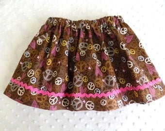 Girls Brown and Pink Peace Sign Skirt
