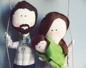 Family Portrait / Personalized Family Dolls . BABY NEW ARRIVAL -  Made to order