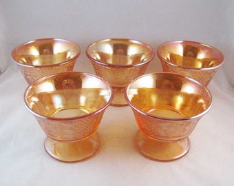 Federal Carnival Glass Champagne/Tall Sherbet Dishes(5) Normandie Circa 1933