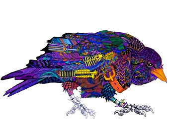 The Upcycled Crow Print drawn with found objects - bird raven