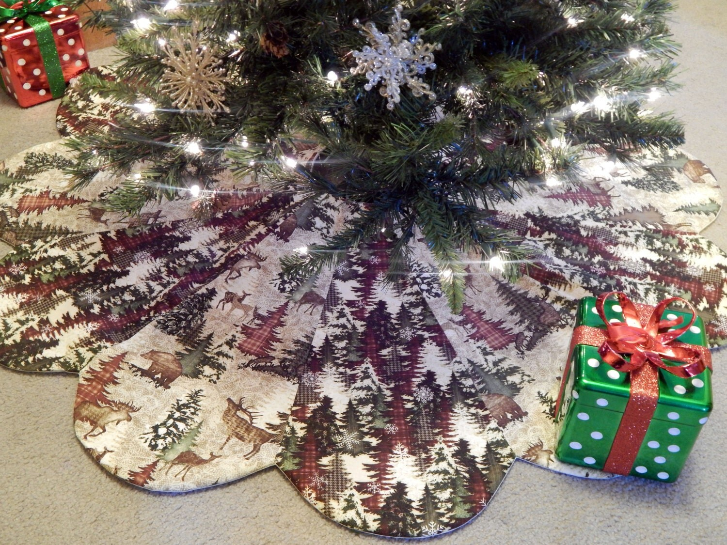 Large alpine woods scallop christmas tree skirt in stock
