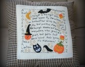 Primitive Large 16 x 16 Handmade Halloween Pillow