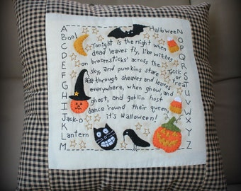 Primitive Large 16 x 16 Handmade Halloween Pillow