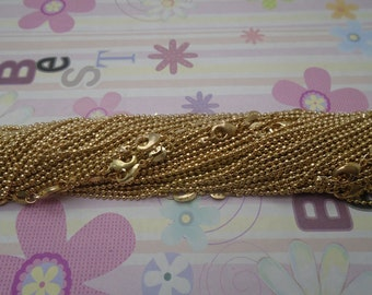 High Quality--25pcs 1.5mm 18 inch gold plated shiny ball chain necklace with lobster clasp