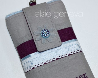 Design Your Own Colors Bridesmaid or Grey Japanese Linen Blue Purple & Lace Satin Phone Case w/ Wristlet  iPhone 5 6 Plus Personalize Option