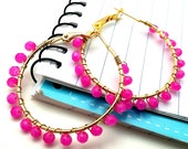 Beaded Hoops Hot Pink Gold Wire Wrap, Classic Mod Jewelry for Sister Friend Cousin Neighbor, Perfect for Birthdays Sweet 16  Stocking Filler