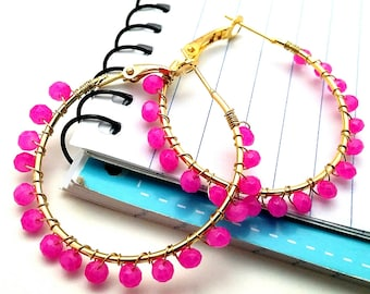 Beaded Hoop Earrings,  Hot Pink Gold Wire Wrap Hoops,Mod Hoops for Sister Friend Cousin, Perfect for Birthdays Sweet 16  Stocking Filler