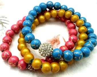 Bracelet Pink Blue Gold Speckled Beaded Set, Trendy Fall Minimalist Jewelry for Him ~ Her, Secret Santa Gifts, Last Minute Gifts