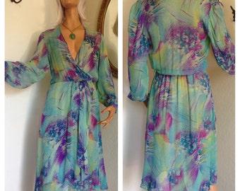 Vtg 70s Sheer Silk Tropical Dress