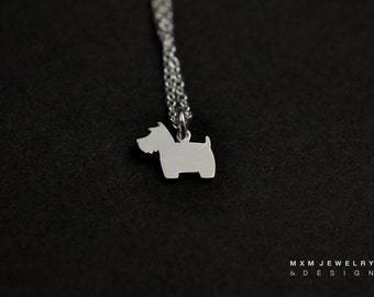 Silver or Gold Little Scottish Terrier Dog Necklace