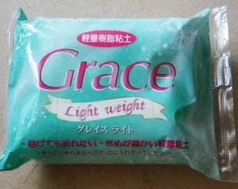 One packet of Grace Light Weight Clay. Air drying clay. 120g. White clay. Good for miniature food and crafts.