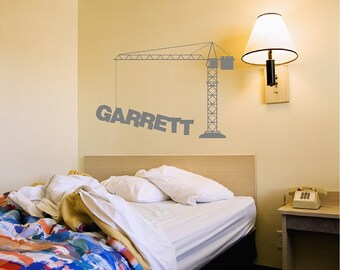 Personalized Crane Wall Decal Construction Custom Wall Sticker