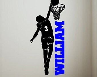 Personalized Boy Basketball Player Wall Decal Removable Basketball Wall Sticker