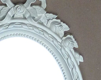 Vintage White Romantic Victorian Ribbons and Roses Mirror with Beading