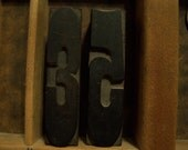 Vintage Newspaper Type Set Letters, Large Numbers 3, 5, Wood,  Upcycle, Stamping, Old,