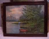 Antique James Lee Framed Prints, Pair, 1905, Lake Scenes, Fishing, Boats, Forest, Pair Wall Hangings