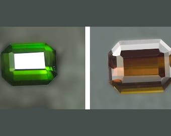 Tourmaline Chrome Green color change 10 x 8 Emerald cut 3.04carats