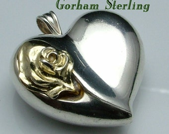 Gorham Sterling Silver Puffed 3D Heart Charm Pendant