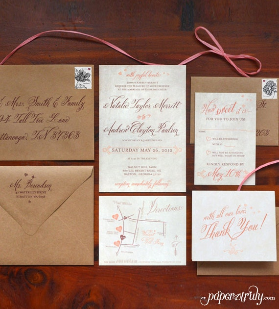 Rustic Sweet Coral Invitation Suite - SAMPLE ONLY (Price is not full order per unit price, see description)