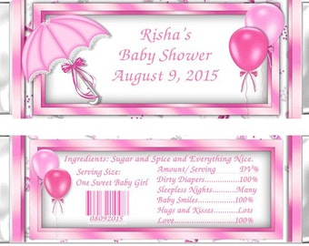 Pink Baby Shower Candy Bar Wrappers / Umbrella- Set of 24 / PRINTED