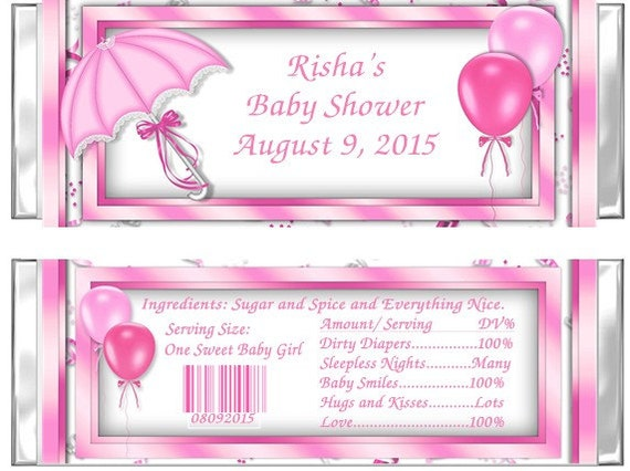 pink baby shower candy bar wrappers umbrella set of 24 printed