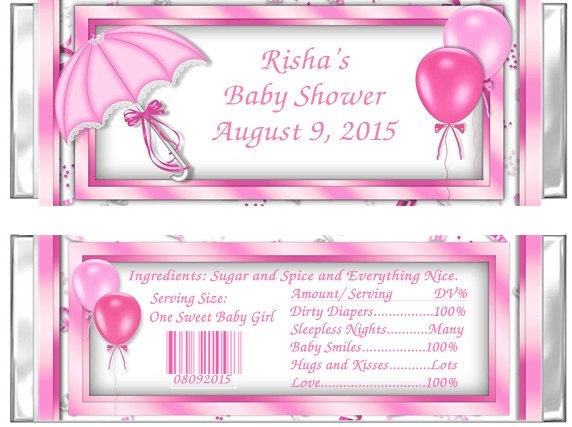 pink baby shower candy bar wrappers umbrella set of 24