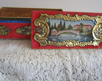 Vintage Friche & Nache Footed Tin Beautiful Landscape Graphics German Tin