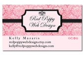 Premade Business Card Design, Digital Business Cards, Vintage Damask Pink Black, Print at Home or Online Business Card Template