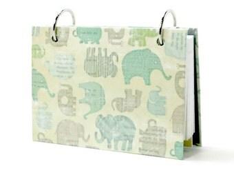 Index card binder, blue elephants, journal for baby boy, recipe card binder, set of tab dividers