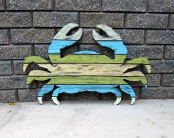 XL Handmade Coastal Crab. Wood Crab. Crab Wall art. Nautical Decor. Coastal Decor. Beach Decor. Made to Order