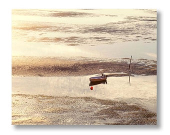 Ocean Sunrise Photograph, Boat on Beach, Low Tide, Ocean Lanscape, Golden Water, Cottage Beach Wall Art, 8x10