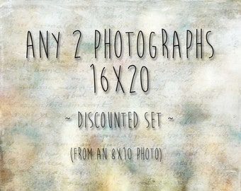 DISCOUNT SET of 2 16x20 Prints - 20% Off - Your Choice of Two 8x10 Photographs as 16x20 Photographs