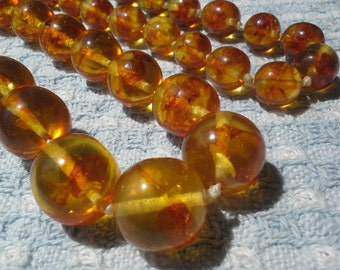 Amber Set Necklace & Bracelet...Baltic Amber Fabulous Large Beads Mint Condition Perfect Pristinely Clean