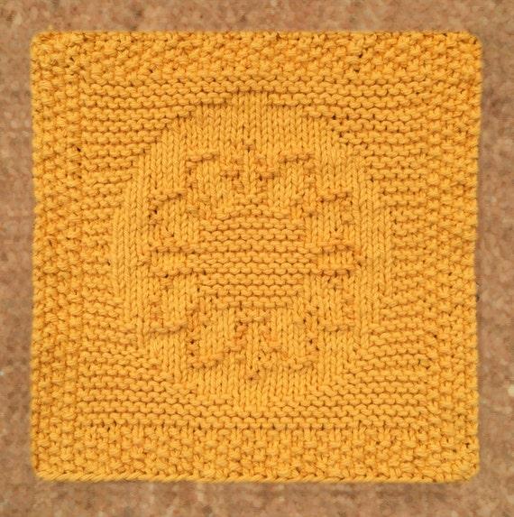 Summer Knitting Patterns Free : Sunflower dishcloth cotton garden summer knitted