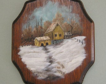 Farm Painting Small Painting Miniature Painting Mini Painting Winter Landscape Rustic Painting Little Painting Country Landscape