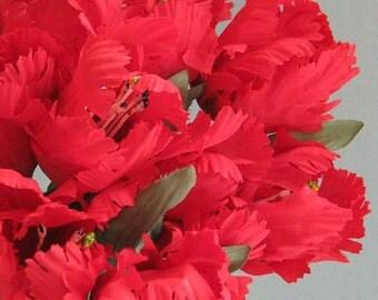 Red Flower Decor 2  Silk Flowers  Artificial Flower Wedding Flower Artificial Silk Flower Faux Flower Stem Fake Flower Floral Stem Parrot